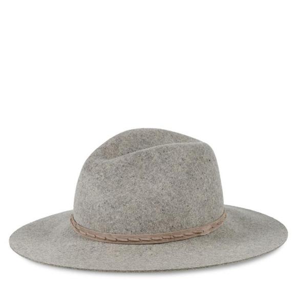 1a773b89195 Rag   Bone Grey Oxford Wide Brim Wool Fedora Hat